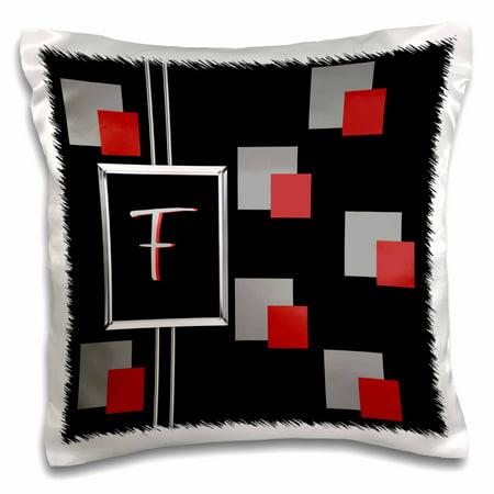 3dRose Modern Geometric Black Red Grey Square Pattern Monogram Letter F - Pillow Case, 16 by 16-inch (Modern Diamond Monogram)