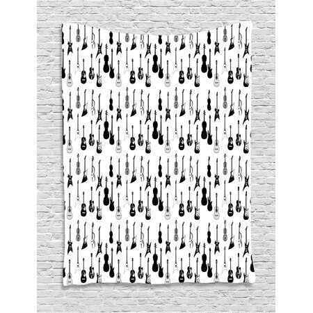 - Music Tapestry, Monochrome Strings Various Types Acoustic and Electronic Guitar Cello Violin, Wall Hanging for Bedroom Living Room Dorm Decor, 60W X 80L Inches, Black White Grey, by Ambesonne