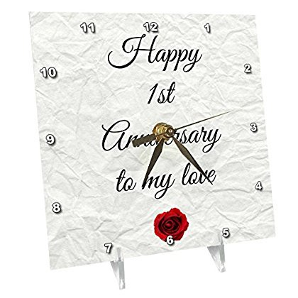 3dRose Happy 1st Anniversary to my love on faux paper-like background, Desk Clock, 6 by 6-inch (Paper Clock Craft)