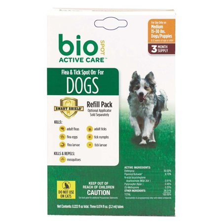 Bio Spot Active Care Flea And Tick Spot On Dog Medium 3 Month Refill Pack 24Ea