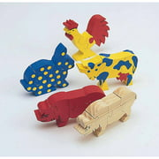 Unfinished Wooden Animal Puzzles, Farm Animals Unassembled, Pack of 12