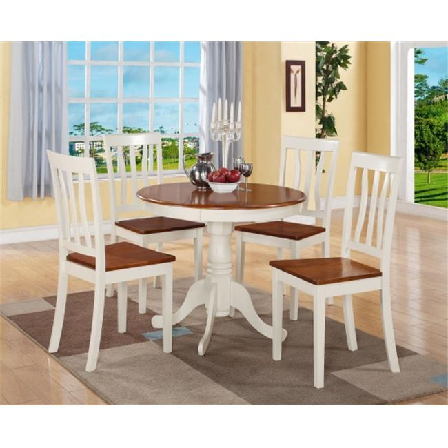 East West Furniture ANTI5-WHI-W 5 PC Antique Round Kitchen 36 in. Table and 4 Chairs with Faux Leather seat