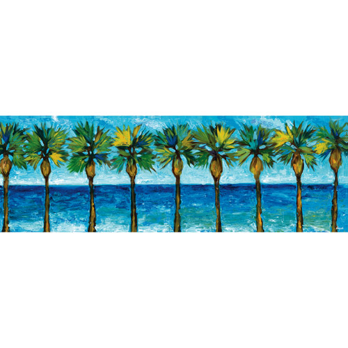 "Palm Tree Panel 12"" x 36"" Canvas Wall Decor by"