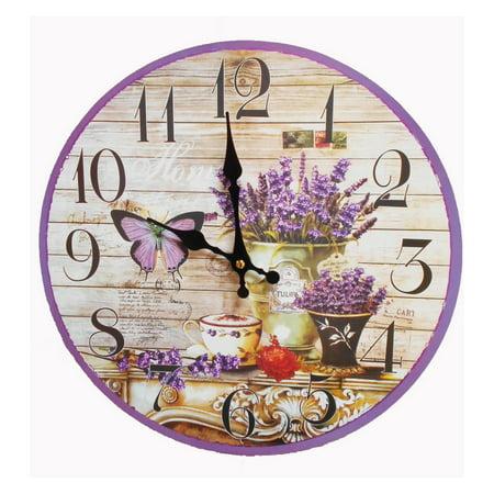Butterfly Flower Clock, Home Office, Dorm, Kitchen, Decor, Shops, Beautiful  Lavender Flower, Butterlfy. Flower Pots, Diameter: 13.3\