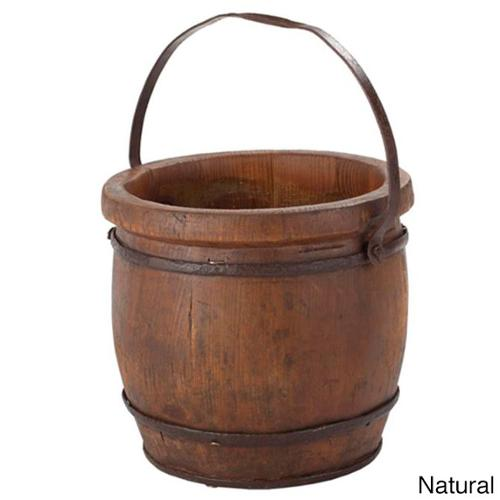 Wooden Barrel Decorative Bucket Red