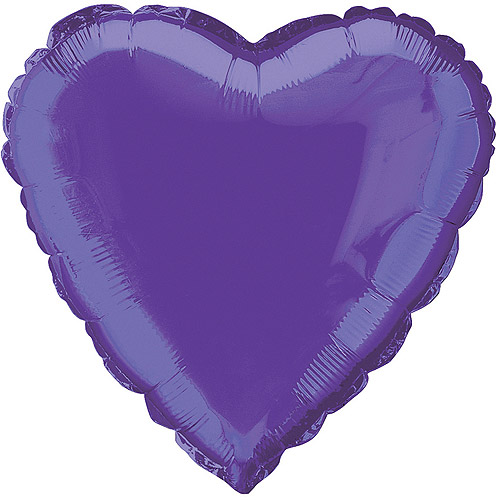 "18"" Foil Deep Purple Heart Balloon"
