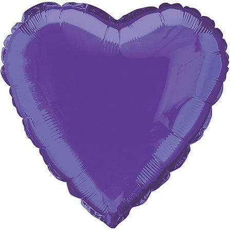 Foil Balloon, Heart, 18 in, Dark Purple, - Purple Balloon