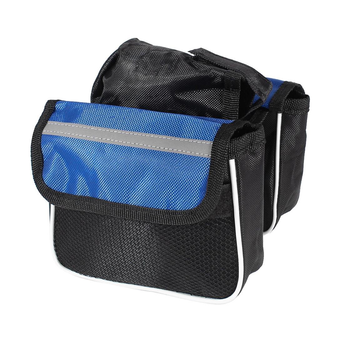 Black Blue Nylon Mesh Cycling Front Bicycle Bike Saddle Reflective Bag Pouch