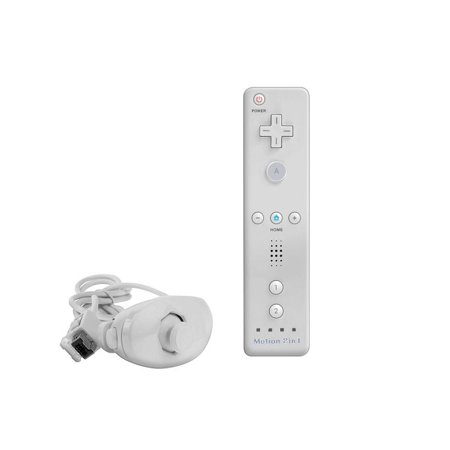 White Nintendo Wii Remote Control Motion Plus Bundle with Nunchuk, Silicon Case, Wrist Strap (Wii Silicone Remote Control)