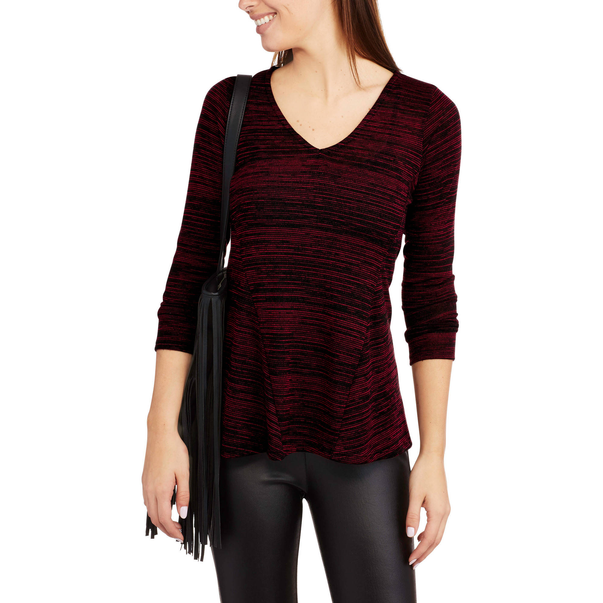Always Grace Women's V-Neck Paneled Sweater Knit Top
