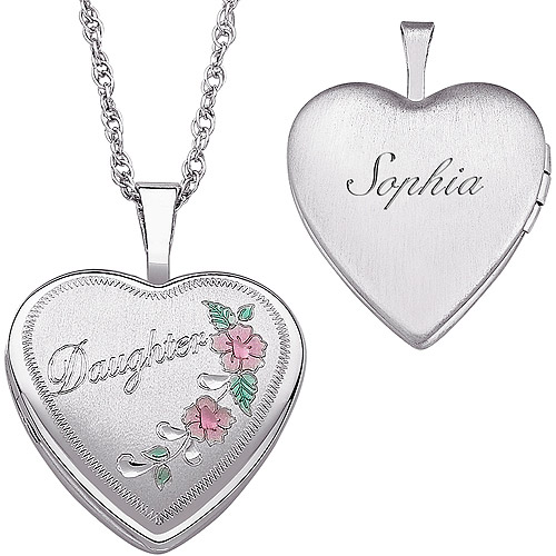 """Personalized Women's Sterling Silver Engraved """"Daughter"""" Heart Locket Pendant, 20"""""""