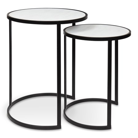 Kate and Laurel Gracen Metal and Wood Nesting Tables 2 Piece Set, Black and Whitewash (Set Whitewash)