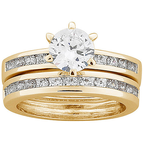 3.5 Carat T.G.W. Round CZ 18kt Gold-Plated Wedding Set