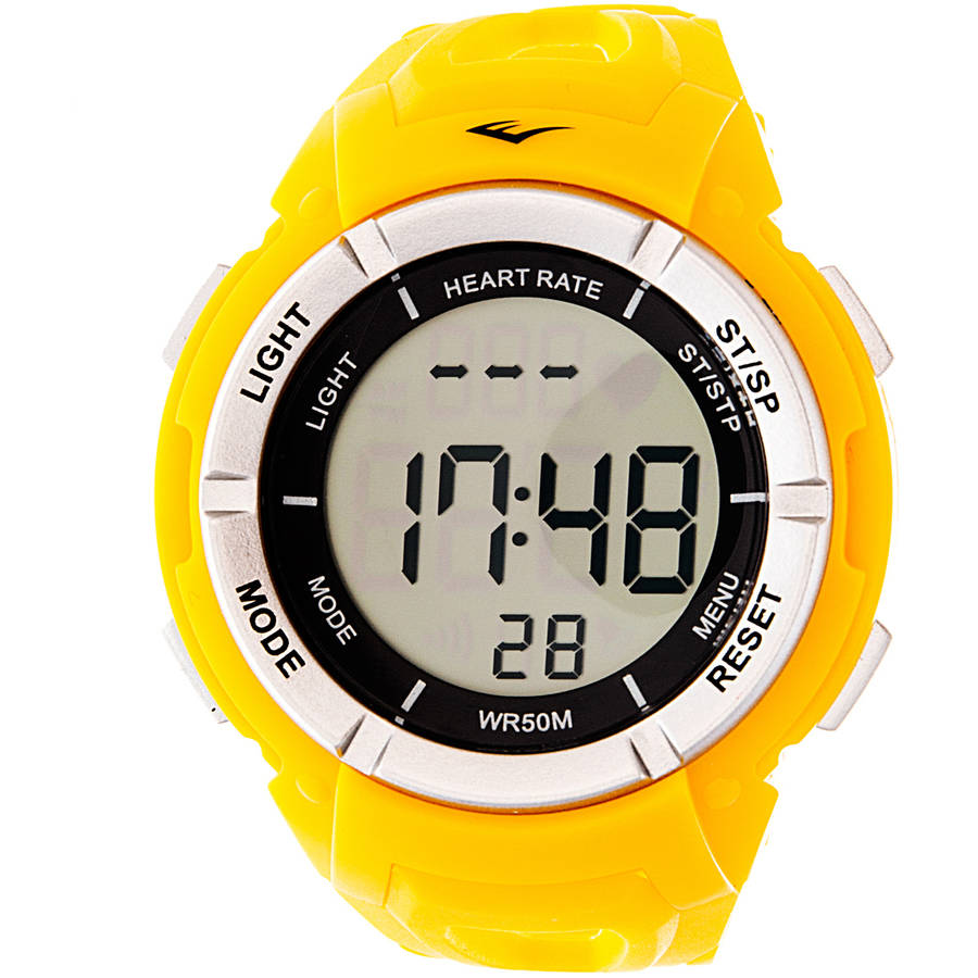 Everlast HR3 Heart Rate Monitor Watch with Continuous Readout and Transmitter Belt, Yellow Plastic Band