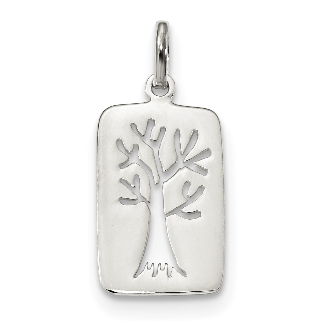 925 Sterling Silver Tree Cut Out Pendant Charm Necklace Outdoor Nature