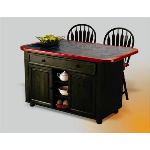 Loon Peak Lockwood Kitchen Island with Ceramic Tile Top and Stools
