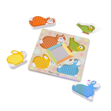 Melissa & Doug First Play Wooden Touch & Feel Puzzle Peek-a-Boo Pets With Mirror (4 Textured pcs) for $<!---->