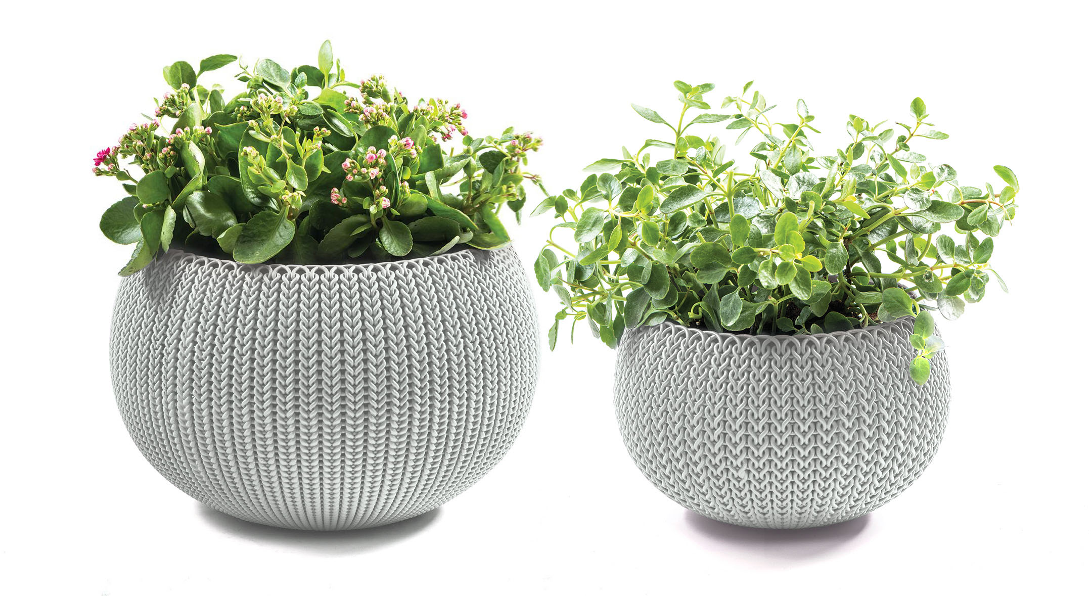 Keter Knit Cozie 11 in. & 14.2 in. dia. Small & Medium Resin 2-Piece Planter Set, Oasis... by Keter