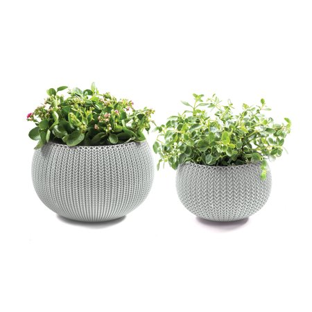Keter Knit Cozie 11 In    14 2 In  Dia  Small   Medium Resin 2 Piece Planter Set  Oasis White