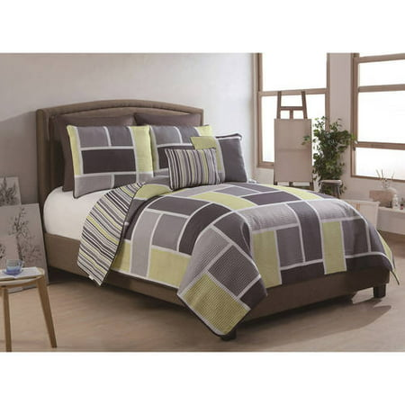 Euro Reversible Board - VCNY Home Morgan 7-Piece Multi-Colored Geometric Stripe Reversible Bedding Quilt Set with Euro Shams, Multiple Colors Available