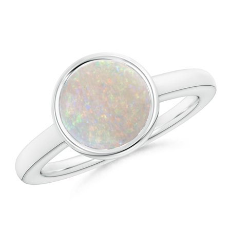 October Birthstone Ring - Bezel-Set Round Opal Solitaire Engagement Ring in 14K White Gold (9mm Opal) - SR1074OP-WG-AA-9-6