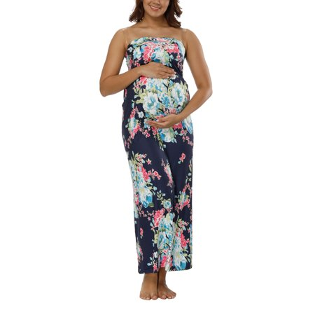 Pregnant Women Off-shoulder Floral Print Long Maxi Dress Maternity Photography Prop Strapless Bandeau Full-Length