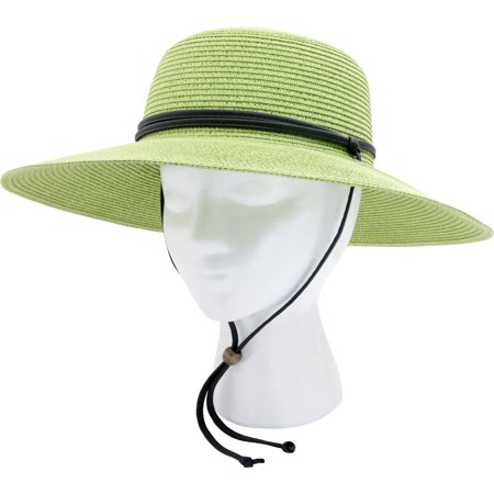 Hat With Light (Sloggers 442TG Women's Green Braided Sun Hat With 50+)