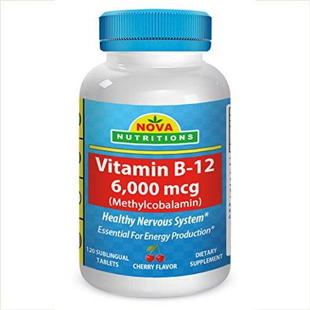 Nova Nutritions Vitamin B12  Methylb12  6000 Mcg 120 Sublingual Tablets  Methylcobalamin Cherry Flavor