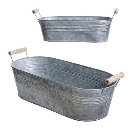 Oval Galvanized Tub: Assorted Sizes, 2 pack