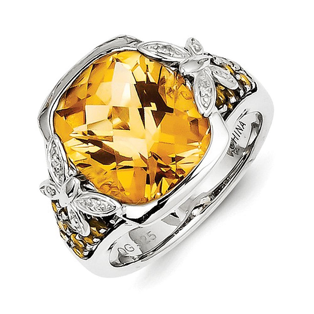 925 Sterling Silver Cushion Cut Citrine and Diamond Ring by gemaffair