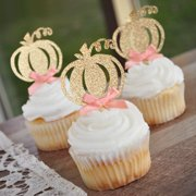 Pumpkin Birthday Decorations. Fall Boy Baby Shower. Pumpkin 1st Birthday Peach Bow Toppers. Set of 12.
