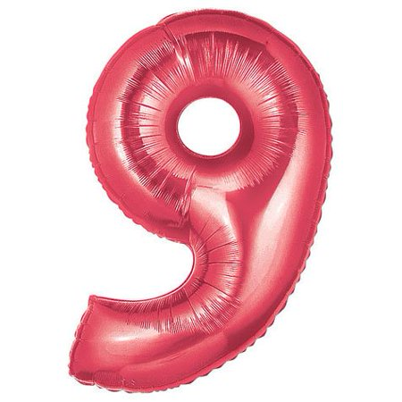 Number 9 Metallic Red 40in Balloon, 1 Balloon per package By Factory Card and Party Outlet](Party And Card Outlet)