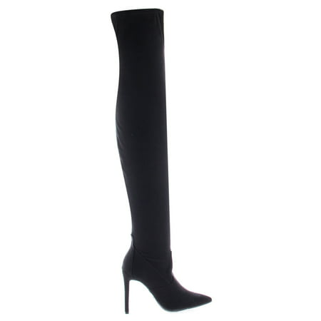 Riseup54S by Anne Michelle, Black Suede Pull On OTK Thigh High Over The Knee High Heel Dress Boots - Black Thigh High Halloween Boots