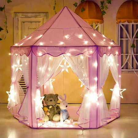 Tents for Girls, Princess Castle Play House for Child, PCWQ133PK Outdoor Indoor Portable Kids Children Play Tent for Girls Pink Birthday Gift (LED Star - Princess Castles For Girls