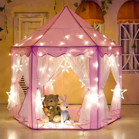 Tents for Girls, Princess Castle Play House for Child, PCWQ133PK Outdoor Indoor Portable Kids Children Play Tent for Girls Pink Birthday Gift (LED Star Lights) (Girl For Kids)