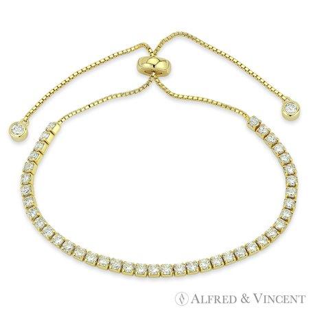 2.8mm Cubic Zirconia Crystal Sliding-Lock Tennis Bracelet in .925 Sterling Silver Gold Cameo Bracelet Slide