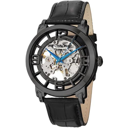 Stuhrling Original Men's Winchester 44 Skeleton Automatic Leather Strap Watch Silvertone/White strap