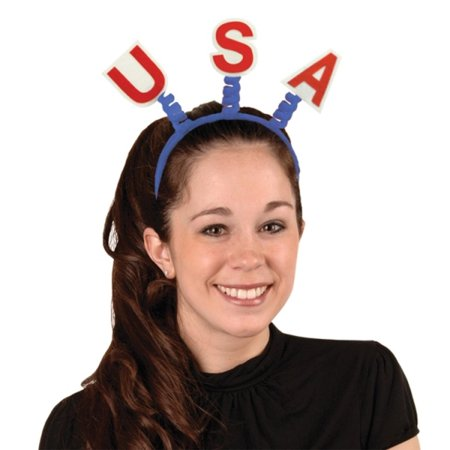 Club Pack of 12 Red White and Blue USA Bopper Headband Party Favors