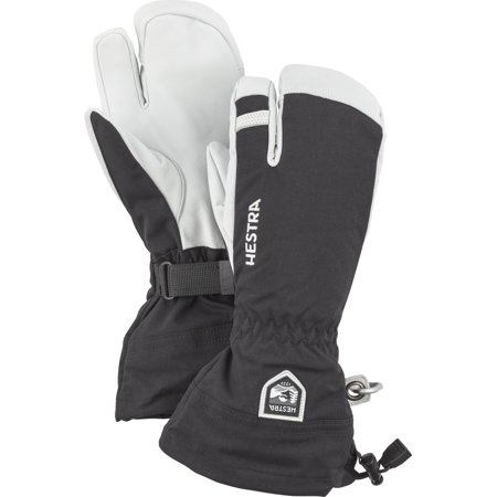 Hestra Mens and Womes Ski Gloves: Army Leather 3-Finger Winter Mitten Black