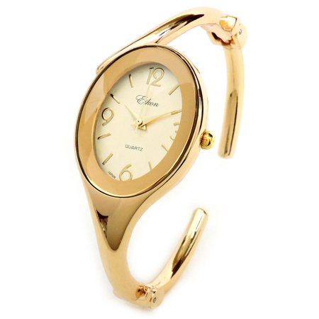 Gold GL Oval Face Jewelry Bracelet Women's Hinged Cuff Dressy Bangle Watch