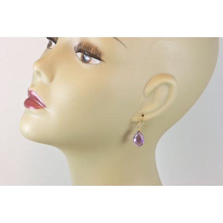(Light Purple Amethyst Earrings Faceted Cut Pear Shape Teardrop Sterling Silver Spyglass Designs)