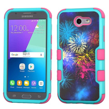 ShockProof Case for Samsung Galaxy J3 Luna Pro 4G LTE / J3 Eclipse / J3 Emerge / J3 Prime, OneToughShield ® 3-Layer Hybrid Protector Phone Case (Teal/Pink) -
