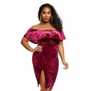 Fashion To Figure Women's Plus Size Finley Off The Shoulder Velvet Dress