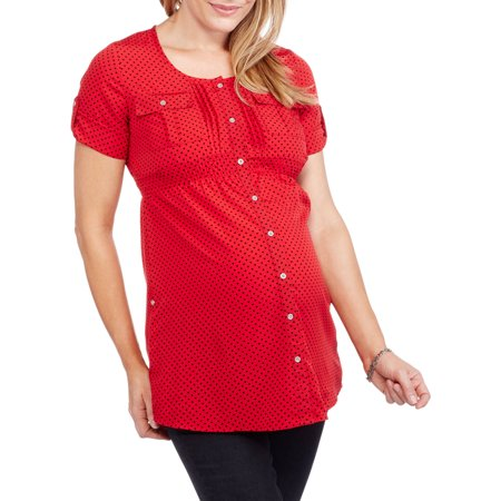 Oh! Mamma Maternity Roll Sleeve Heart Print Shirt with Cinched Waist
