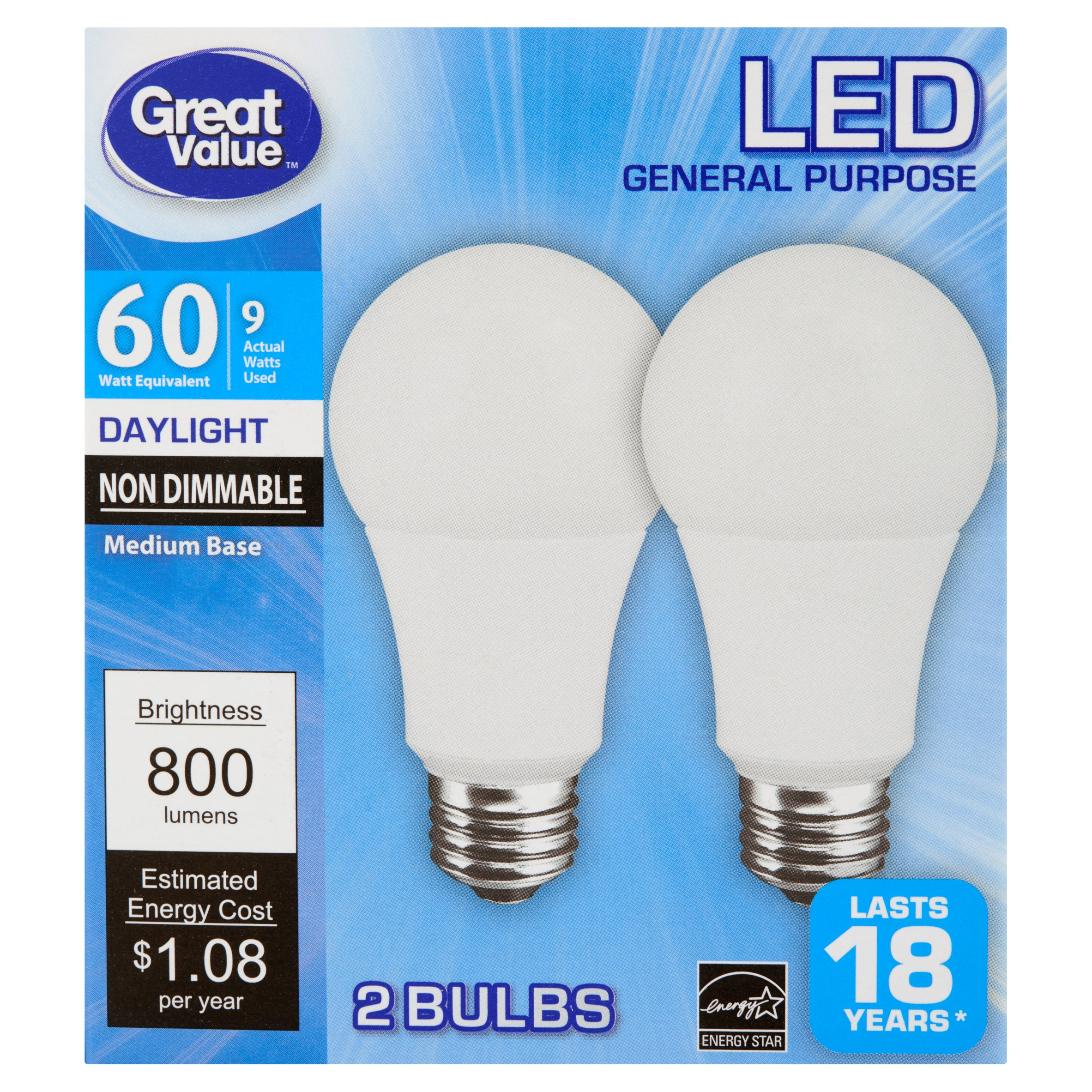 Great Value LED General Purpose Daylight Medium Base Bulbs 9W, 2 ...