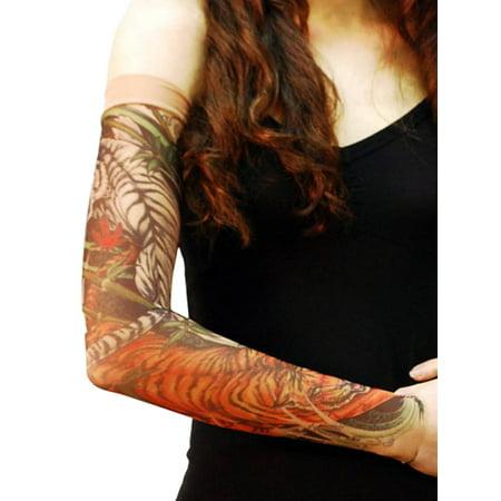 Wild Rose Unisex Single Tattoo Mesh Sleeve Jungle Forest Wild Animal, Tiger, Tan - Roses Tattoo Sleeves