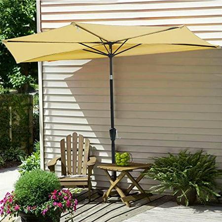 10Ft Beige Outdoor Patio Half Umbrella Cafe Wall Balcony Door 5 Ribs Tilt Aluminum Sun Shade ()