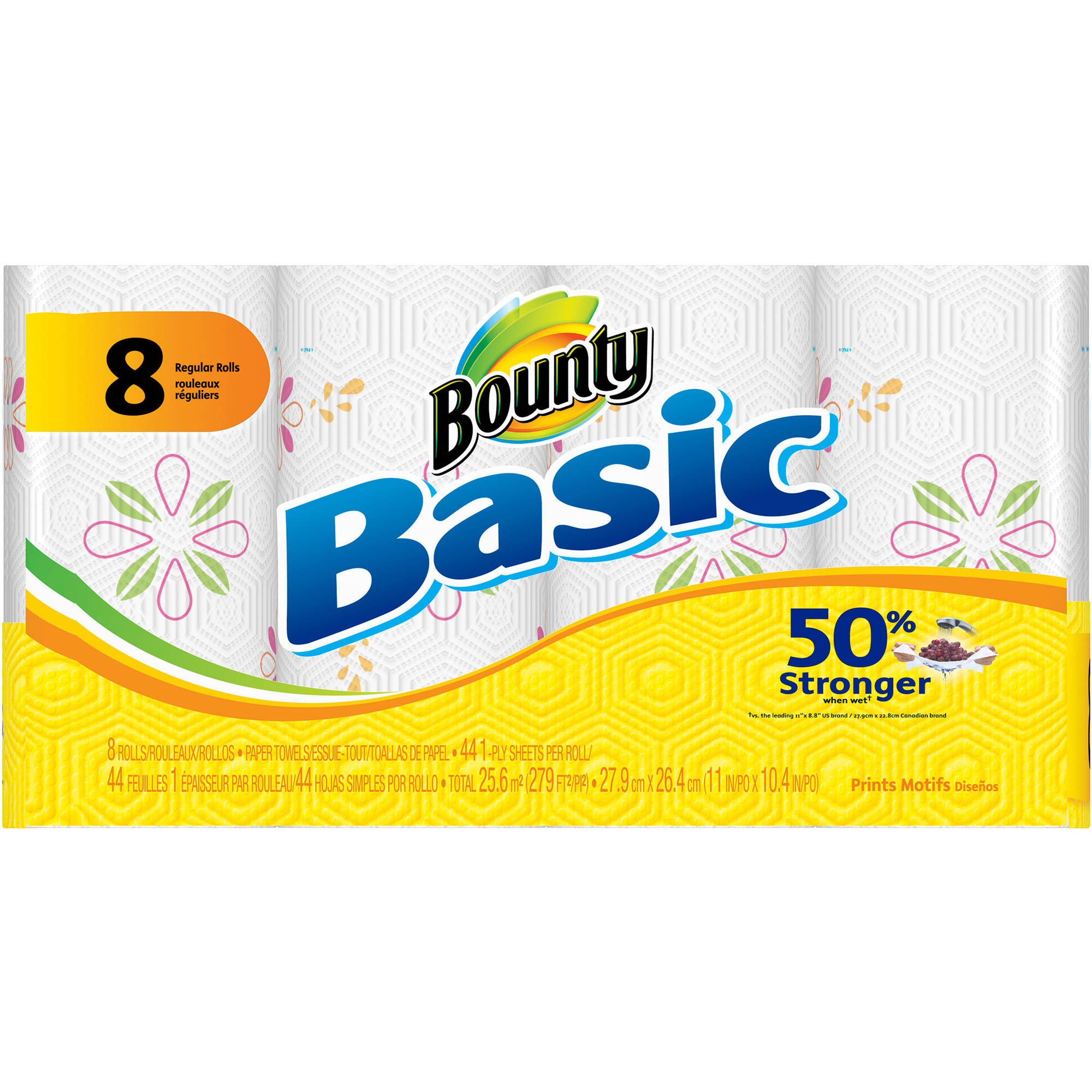 Bounty Basic Paper Towels, Print, 8 Rolls