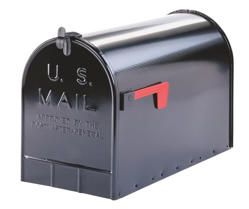 Post Mount Mailbox Large Black Ribbed Body Jumbo Steel Rust Resistant Big Inside