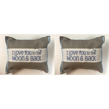 Servant's Heart - I Love You to the Moon & Back Burlap Blue
